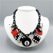 Let's Gamble Cards Dice And Pool Acrylic Necklace