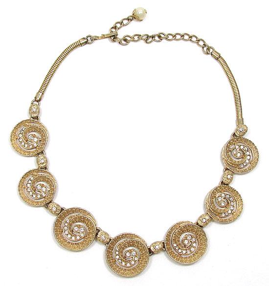 Vintage Hobe Gold Swirl Rhinestone Necklace