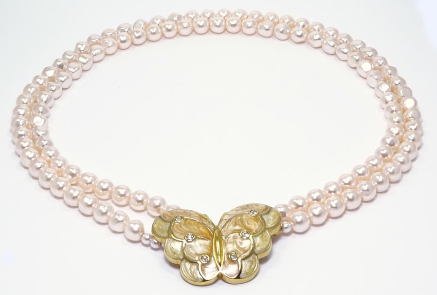 KJL Papillon Butterfly And Pearls Necklace For Avon Vintage