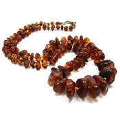 Vintage Graduated Amber Bead Necklace Knotted