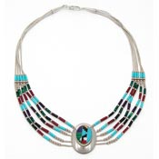 Vintage Liquid Silver Beaded Multi Stone Inlay Necklace