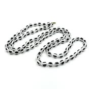 Vintage Long Black And White Striped Beaded Necklace 1960's Op Art