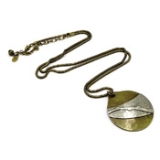 Marjorie Baer Hammered Circle Pendant Snake Chain Necklace