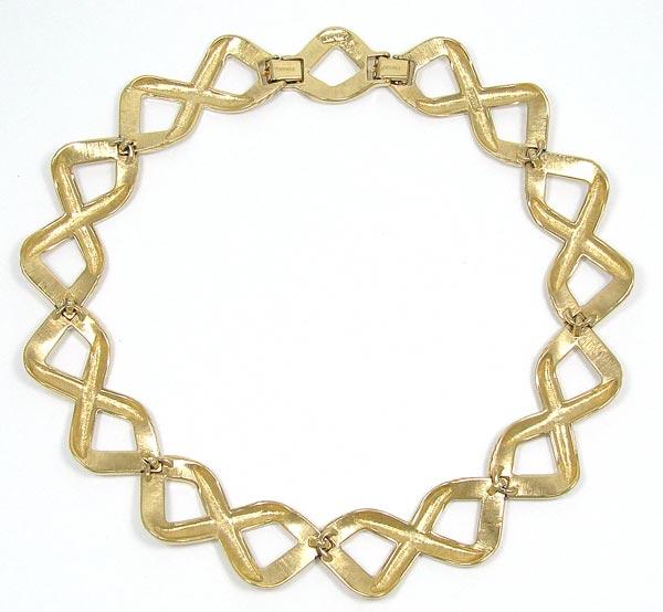 Vintage Monet Gold And Ivory Cream Enamel Linked Collar