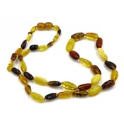 Multi Colored Amber Bead Necklace