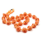 Vintage Peach Celluloid Flower Beaded Necklace