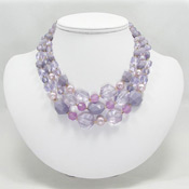 Vintage Three Strand Lavender West Germany Necklace