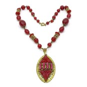 Art Deco Czech Burgundy And Brass Filigree Necklace
