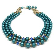 Vintage Teal Pearl And Crystals Three Strand Necklace