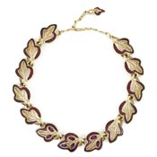 Trifari Gold And Burgundy Enamel Leaf Necklace With Purple Rhinestones