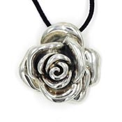 Large Sterling Silver Electroformed Rose Pendant With Necklace