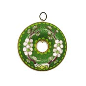Vintage Chinese Cloisonne Doughnut Pendant Green With Flowers