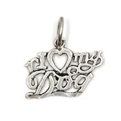 Sterling I Heart My Dog Charm