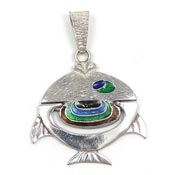 Vintage Italian Sterling Silver And Enamel Wiggle Fish Pendant