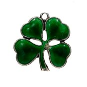 Vintage Sterling Green Enameled Four Leaf Clover Charm by Walter Lampl