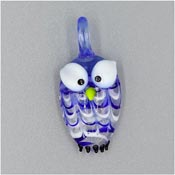 Blue And White Lampwork Glass Owl Pendant