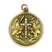 Art Nouveau Lily And Cross Locket S&B Lederer Co.