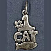 Sterling Silver #1 Cat Charm