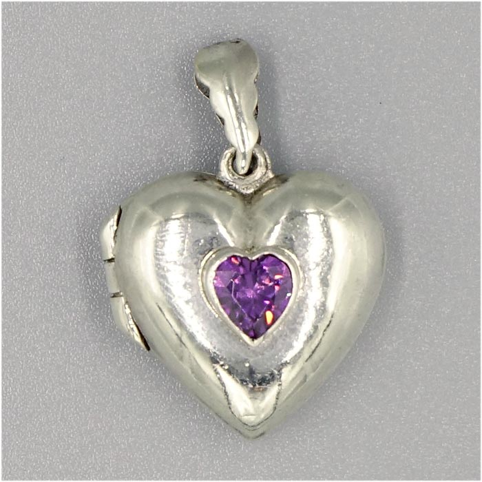 puffy marsala purpheartlocket heart by locket lrg sterling cz purple lockets