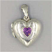 Sterling Purple CZ Puffy Heart Locket By Marsala