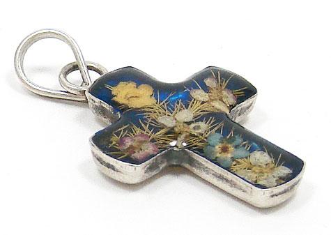 Vintage Miniature Pressed Flower Sterling Cross Pendant