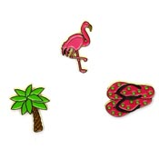 Three Flamingo Palm Tree Flip Flops Pin Set