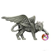 Vintage Pewter Flying Tiger With Crystal Ball Pin By AJC