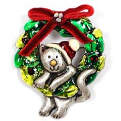 Enameled Christmas Kitty In A Wreath Pin by AJMC