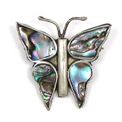 Vintage Mexico Alpaca And Abalone Butterfly Pin
