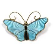 Vintage Vermeil Light Blue Butterfly Pin By David Andersen