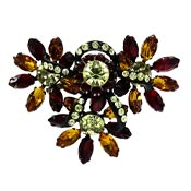 Autumn And Black Icing Rhinestone Flower Pin