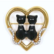 Rare Butler And Wilson Black Kitties Heart Pin