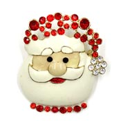 Vintage Large Enamel Santa Face With Rhinestones