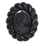 Black Bakelite And Glass Cameo Brooch