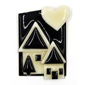 Lucinda House Pin Black And Cream With Heart