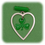Vintage Celluloid Shamrock And Heart Pin
