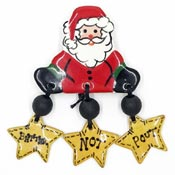 Hand Painted Ceramic Better Not Pout Santa Pin