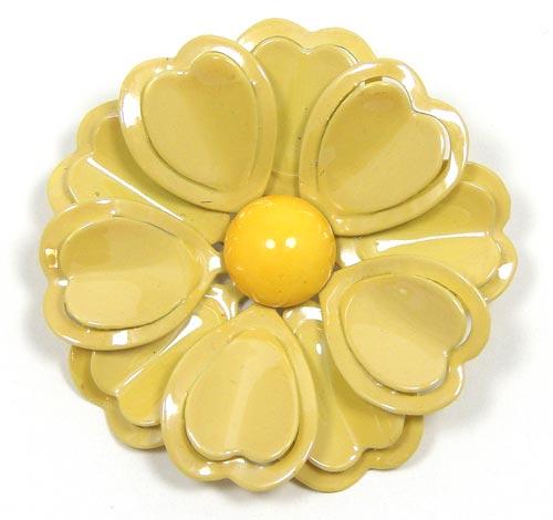 Vintage sunny yellow enamel flower pin mightylinksfo
