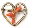 Antique Victorian Heart And Branch Coral Pin