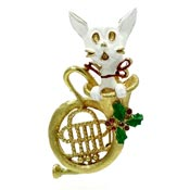 Christmas Cat With French Horn Pin By Corel