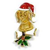 Christmas Dog With Bone Pin By Corel