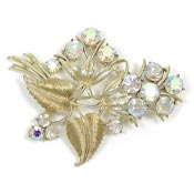Vintage Coro Aurora And Gold Floral Brooch