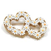 Vintage Double Daisy Heart Pins