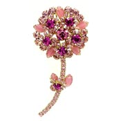 Juliana D&E Pink Rhinestone Flower Pin Verified
