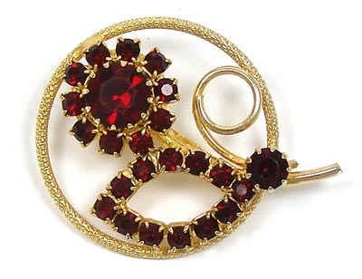 Vintage Red Rhinestone Flower Circle Pin