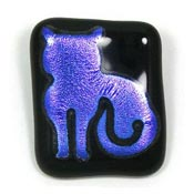 Dichroic Fused Glass Cat Pin Pendant