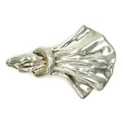 Large Electroform Draped Sterling Silver Pin By Bat Ami