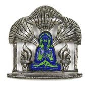 Vintage Exotic Oriental Buddha Pot Metal Pin