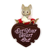 Vintage Eat Your Heart Out Mouse With Chocolate Pin Enesco 1989