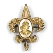 Antique Victorian Fleur De Lis Cameo Watch Pin